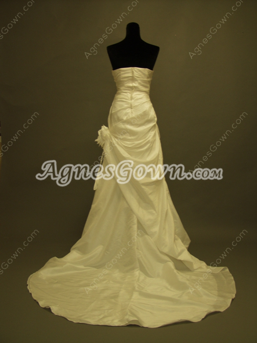 Simple Strapless Taffeta Plus Size Wedding Dresses