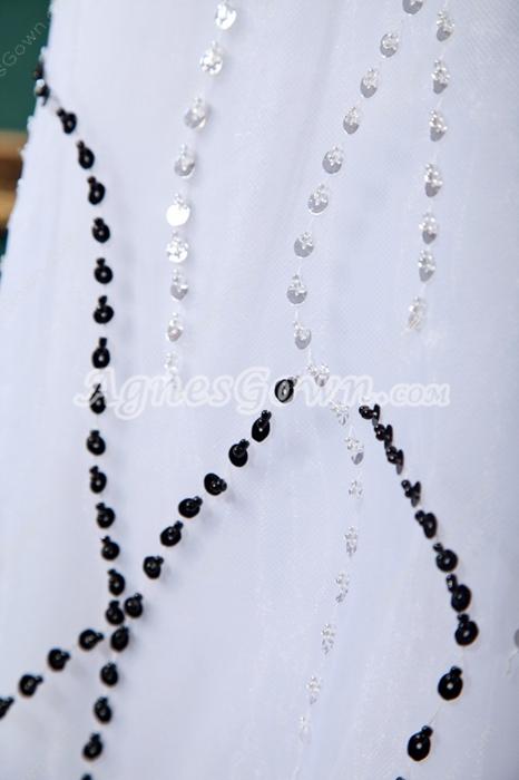 A-Line Organza Beach Wedding Dress With Heavy Beads