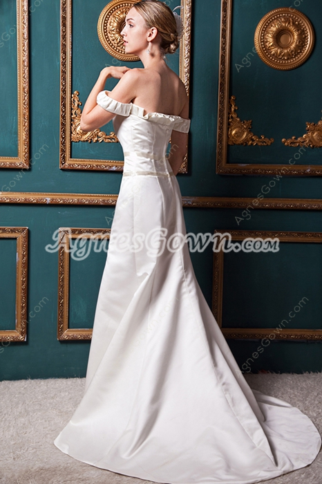 Off The Shoulder Ivory Satin Wedding Dress