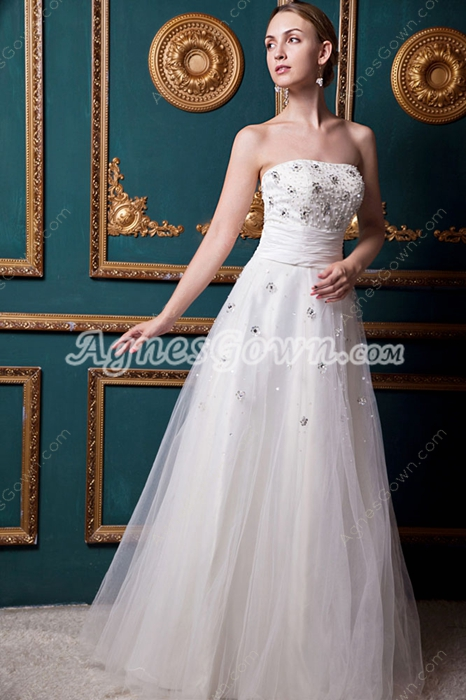 Strapless Ivory Tulle Jeweled Wedding Dress