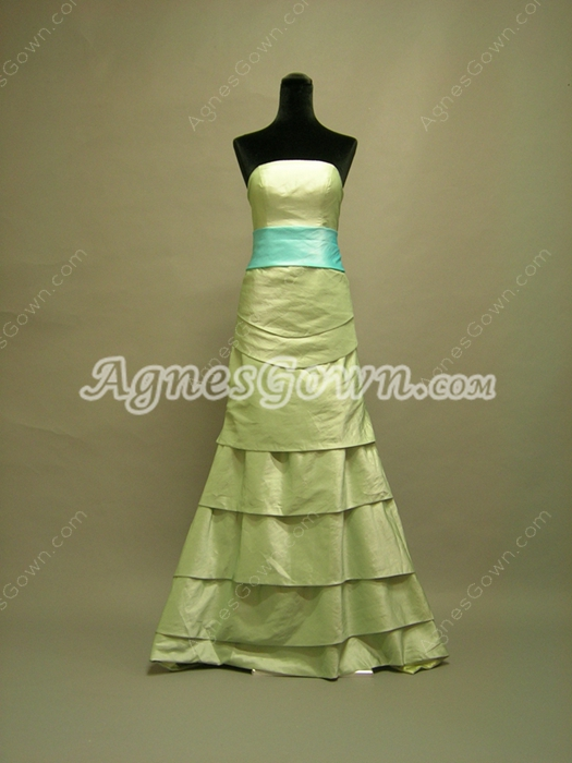 Green Strapless A-line Full Length Homecoming Dresses With Blue Sash