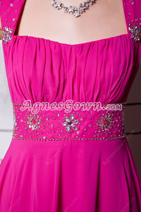 Adorable Straps A-line Fuchsia Plus Size Prom Dress