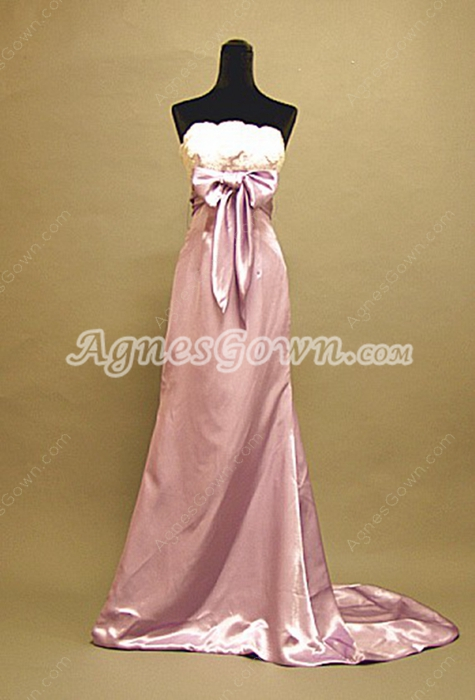 Simple Lilac Strapless Celebrity Dresses With Lace Embellished