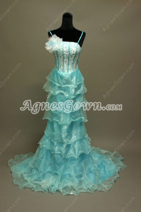 Traditional Blue Organza Spaghetti Straps Celebrity Dresses With Ruffles