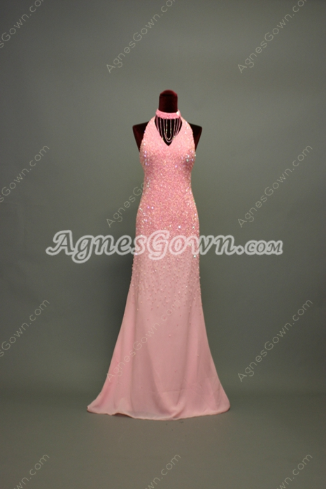 Luxurious Pink V-Neckline A-line Wedding Guest Dresses With Heavy Beads