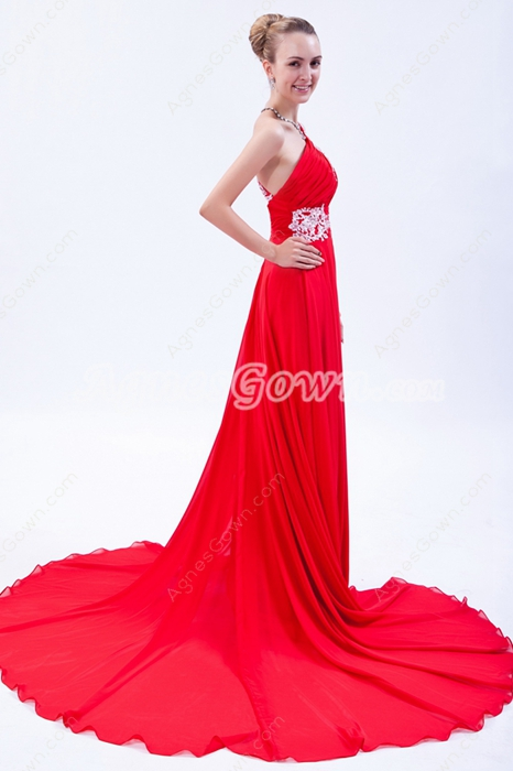 Charming One Straps A-line Red Chiffon Formal Evening Dress Cut Out