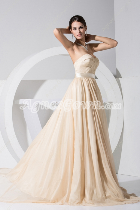 Exquisite Champagne Sweetheart Chiffon A-line Reception Dresses