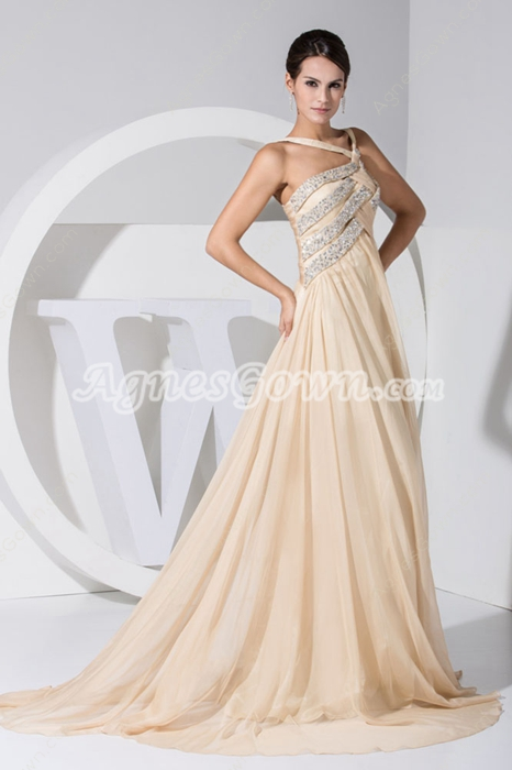 Stunning Champagne Chiffon Celebrity Evening Dress With Beads