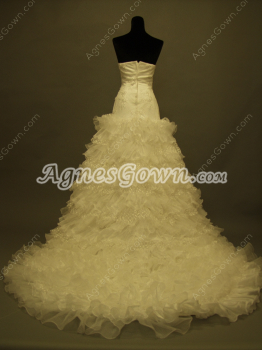 Best Ivory Puffy Celebrity Wedding Dresses With Multi Ruffles