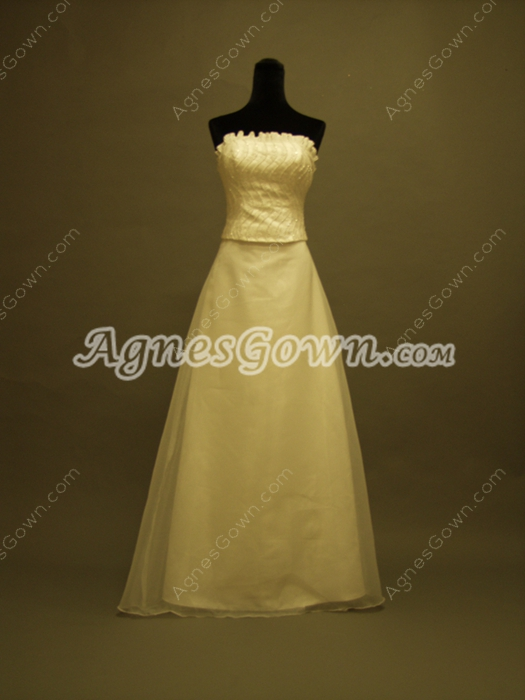 Elegant Ivory Strapless Wedding Gowns With Detachable Train