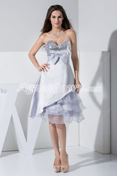Sweet Silver Homecoming Dress with Sequins