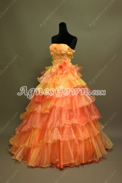 Traditional Strapless Princess Quinceanera Dresses With Handmade Flowers