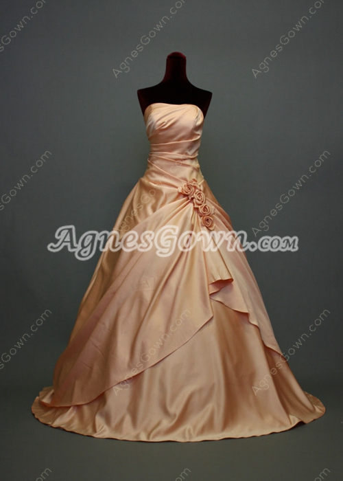 Charming Coral Strapless Satin Quinceanera Dresses