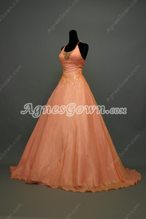 Charming Coral Halter Ball Gown Quinceanera Dresses With Sequins