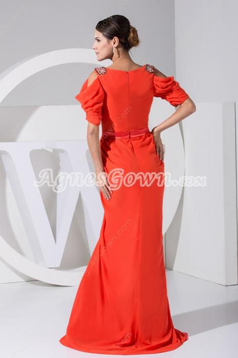 Half Sleeves Column Full Length Orange Mother Of The Bride Dress
