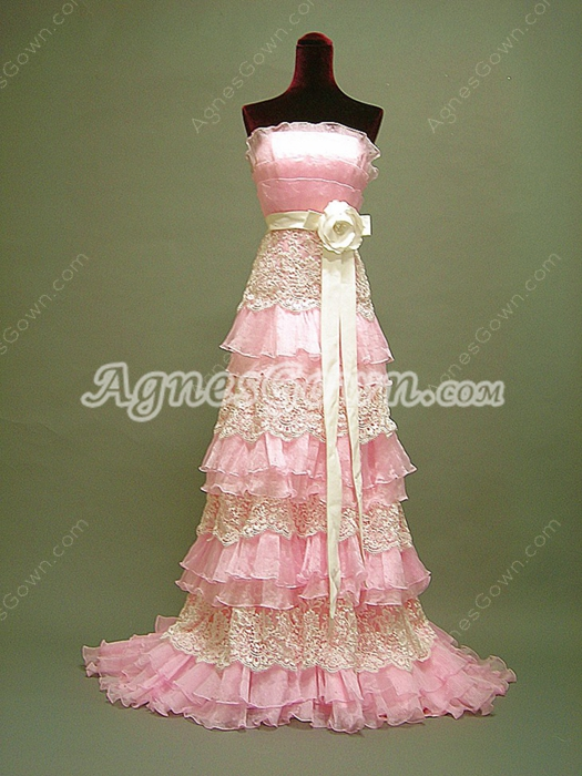 Terrific Strapless Pink Graduation Dress