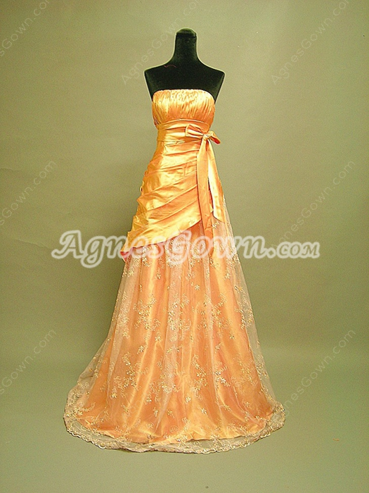 Charming Orange Long Prom Dresses With Sash
