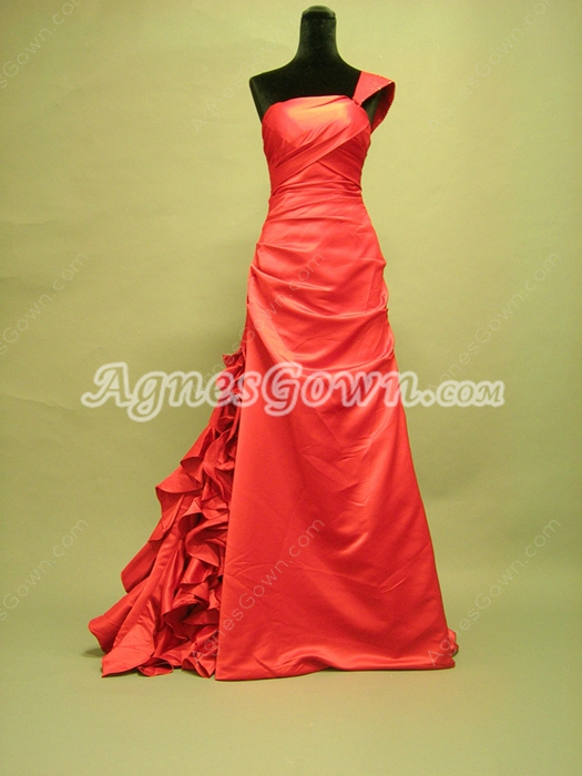 Graceful One Shoulder A-line Red Celebrity Dresses With Ruffles
