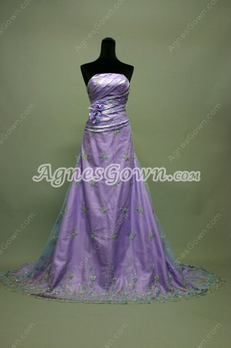 Vintag Lavender Strapless Lace Celebrity Dresses