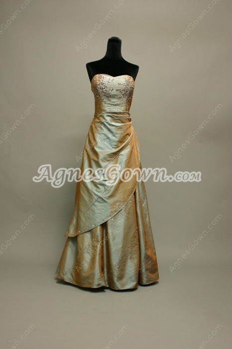Terrific Sage Green Taffeta Sweetheart Sweet 16 Dress