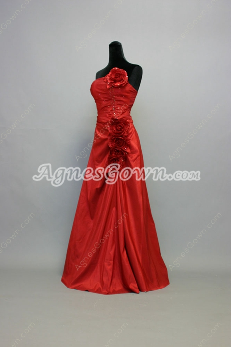 Dramatic Dark Red A-line Prom Dresses With Handmade Flowers