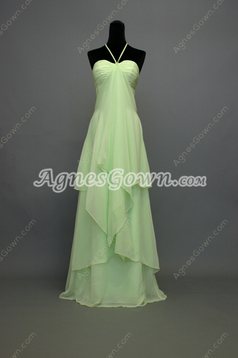 Fancy Sage Halter Empire Maternity Bridesmaid Dresses With Ruffles