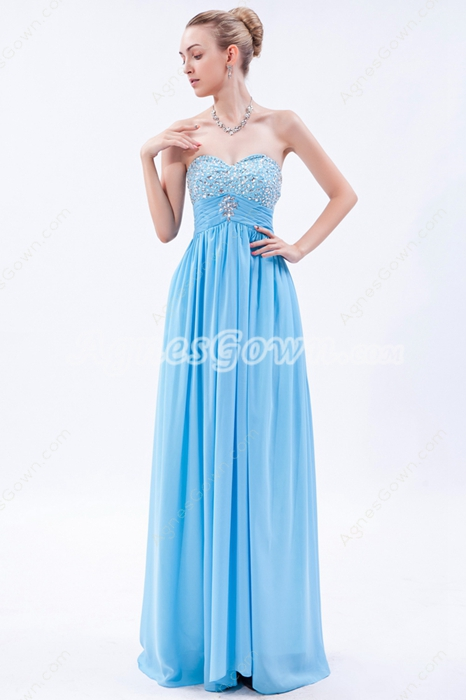 Adorable Sweetheart Column Sky Blue Prom Dress With Beads