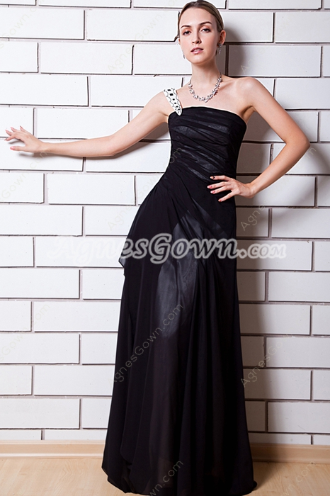 A-line Black College Graduation Dress One Straps