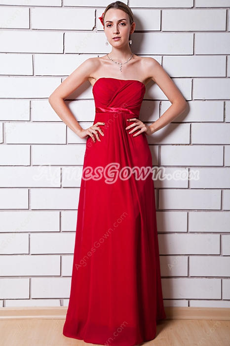 Strapless Empire Chiffon Maternity Bridesmaid Dress