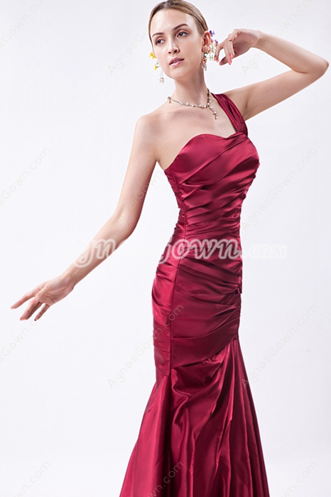 One Straps Satin Mermaid Prom Dress Pleated Bodice