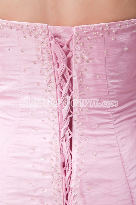 Elegance Sheath Full Length Pink Prom Party Dress With Beads