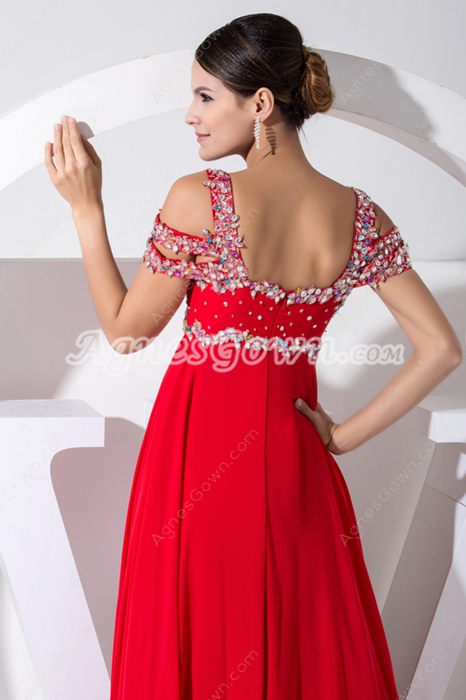 Off The Shoulder Red Prom Dress With Diamonds