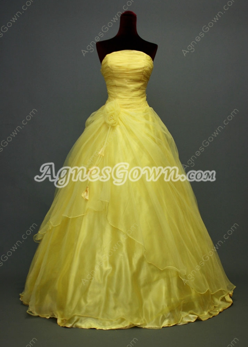 Simple Strapless Spring Sweet 15 Ball Gown Dress