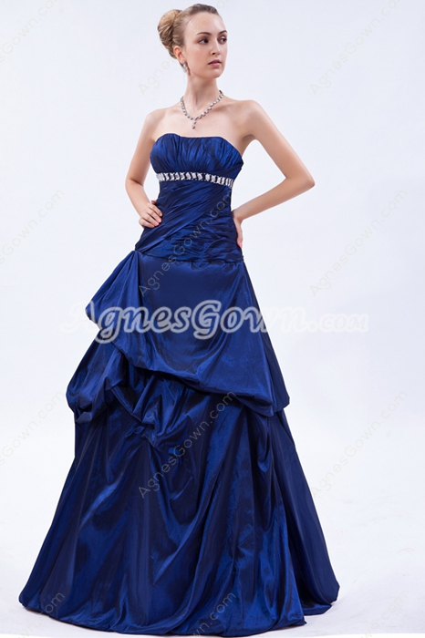 Elegance Strapless Dark Royal Blue Taffeta Princess Quince Dress