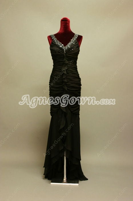 Romantic V-Neckline Sheath Black Chiffon Wedding Guest Dress