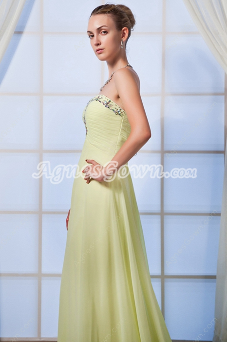 Delicate Empire Full Length Lime Green Maternity Prom Dress