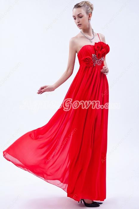 Pretty One Straps Red College Graduation Dress