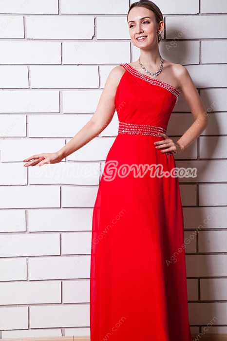 Delicate One Shoulder Red Chiffon Wedding Guest Dress
