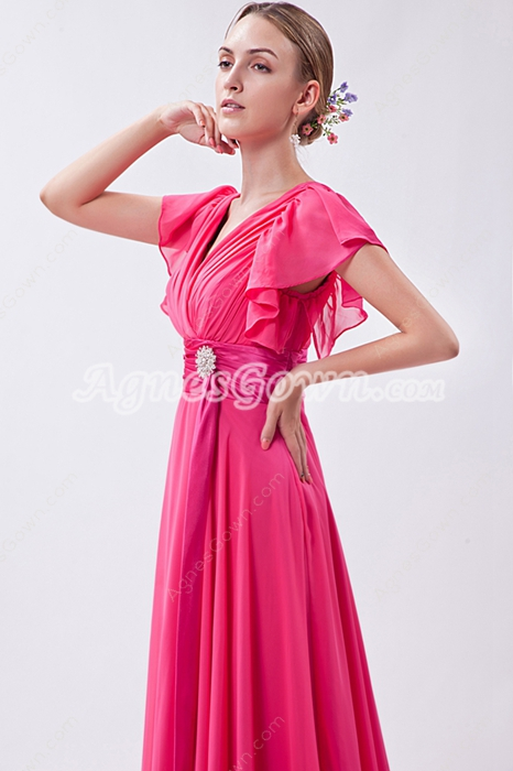 V-Neckline Short Sleeves Fuchsia New Years Eve Prom Dress