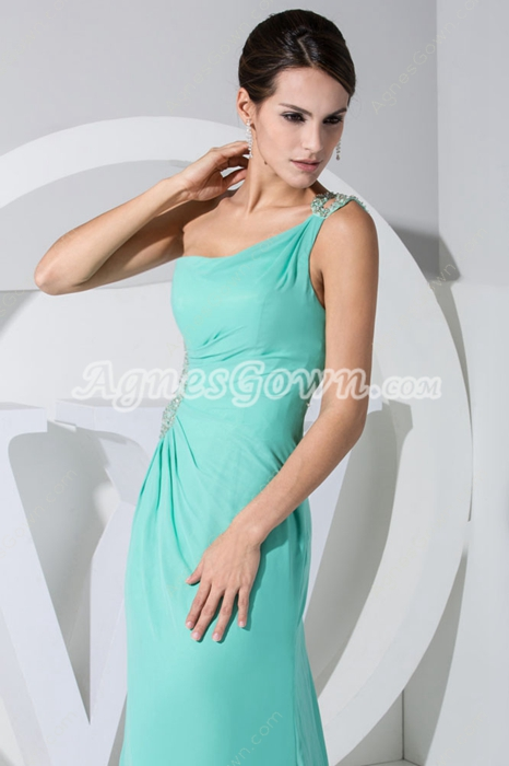 Exclusive One Straps A-line Tiffany Green Evening Dress Hollowed Out