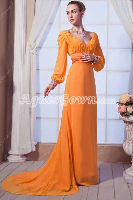 Long Sleeves V-Neckline Orange Mother Of The Bride Dress