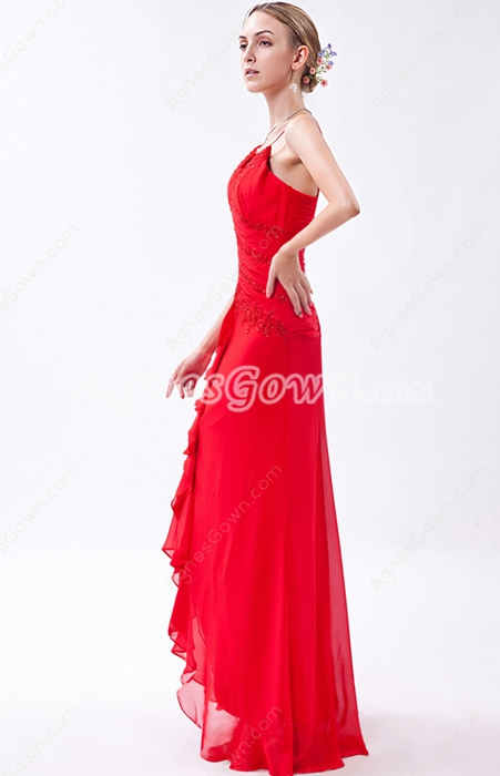Spaghetti Straps A-line Red Chiffon Long Homecoming Dress