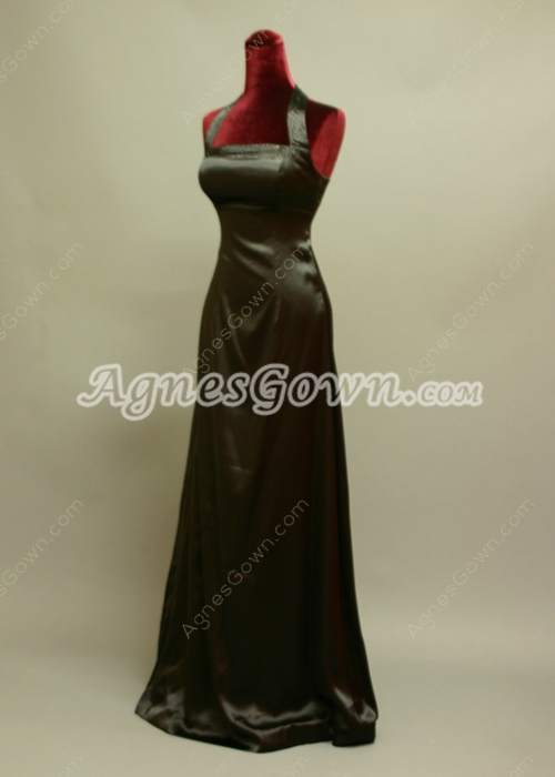 Simple Halter Satin A-line Evening Dress