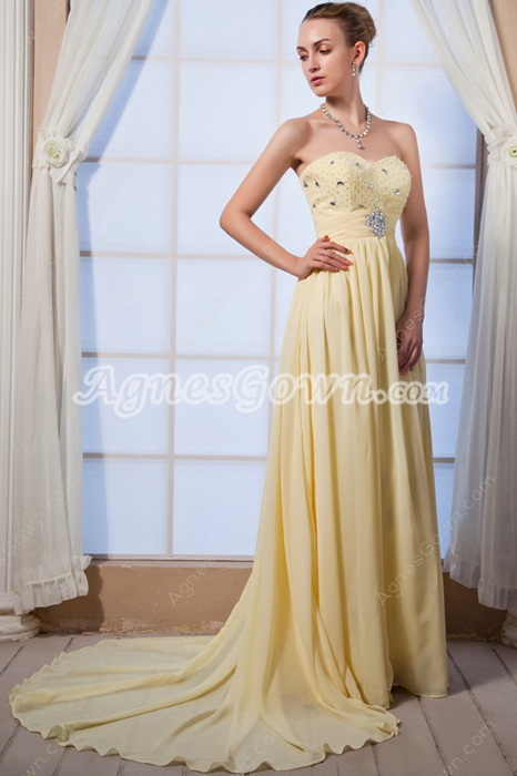 Pretty Sweetherat A-line Yellow Chiffon Prom Pageant Dress