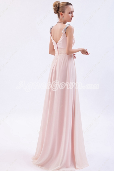 Noble Spaghetti Straps A-line Pearl Pink Chiffon Engagement Evening Dress