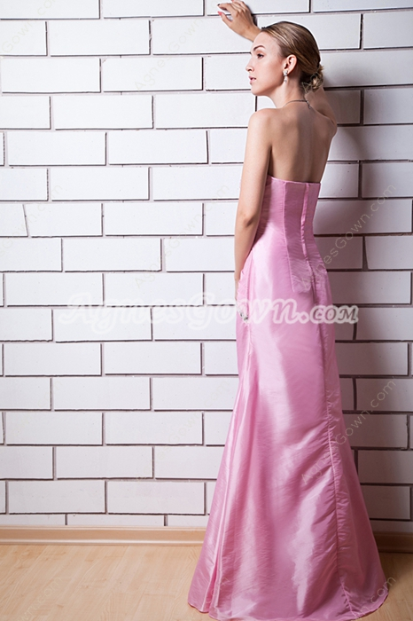 A-line Full Length Pink Taffeta Formal Evening Dress With Beads