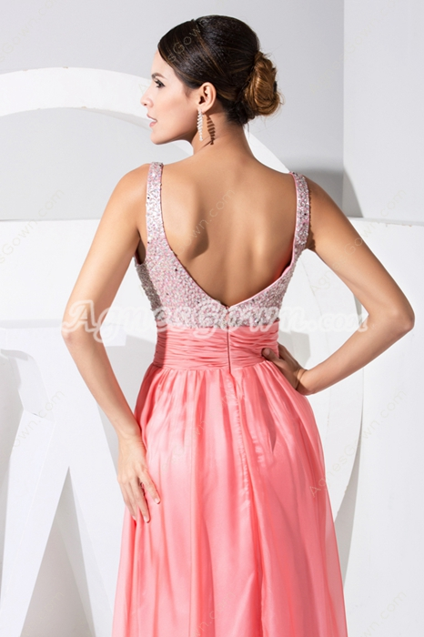 Charming Watermelon Straps A-line Long Evening Dresses