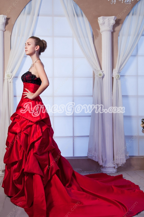 Strapless Red Taffeta Ball Gown Wedding Dress With Black Lace