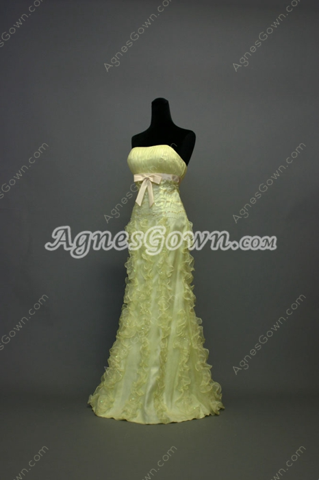 Pretty Lime Green Long College Graduation Dresses With Ruffles