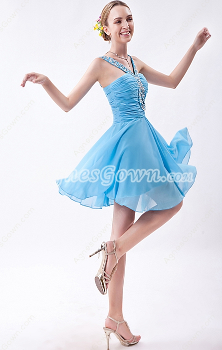 Straps Mini Length Blue Junior Prom Dress